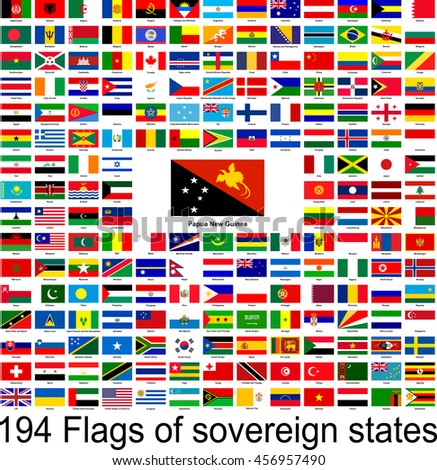 Papua New Guinea, collection of vector images of flags of the world