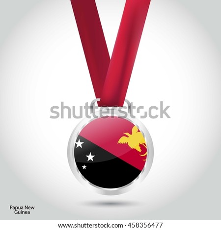 Papua New Guinea Flag in silver Medal. Vector Illustration. RIO Olympic Game silver Medal. Vector Illustration