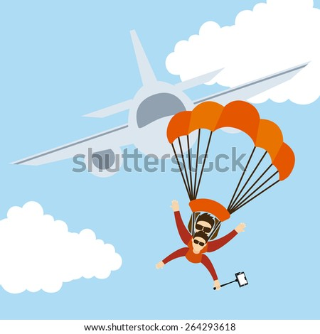 parachute fly design, vector illustration eps10 graphic  - stock vector