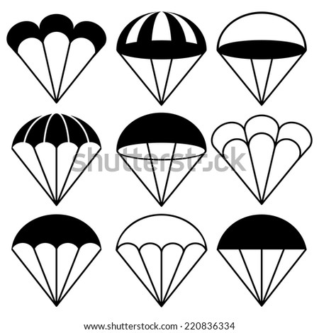 Parachute Icons Set, Vector Illustration - stock vector