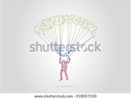 parachute low poly - stock vector