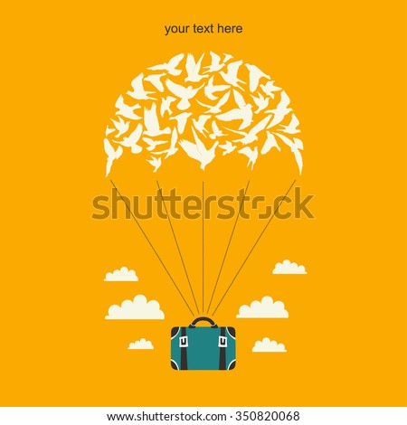 Parachute with birds and suitcase. - stock vector