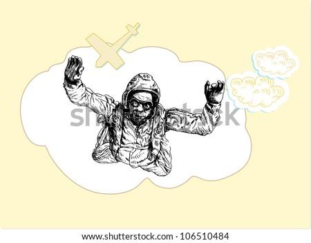 parachutist flying, drawing - stock vector
