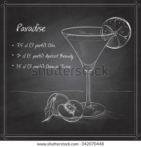 Paradise alcoholic cocktail, consisting of 7 parts gin, 4 parts apricot brandy, 3 parts orange juice on black board