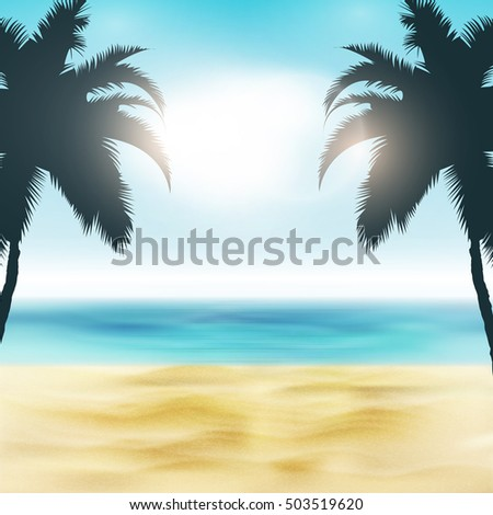 Paradise Beach Illustration | Sand and Palm Trees | Tropical Sea with Bright Sun