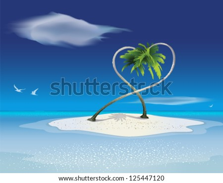 Paradise Island banner with palm trees. Graphic Design Editable For Your Design. - stock vector