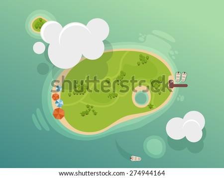 Paradise Island illustration - stock vector