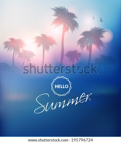 Paradise Island-Palm Tree Sunset - stock vector