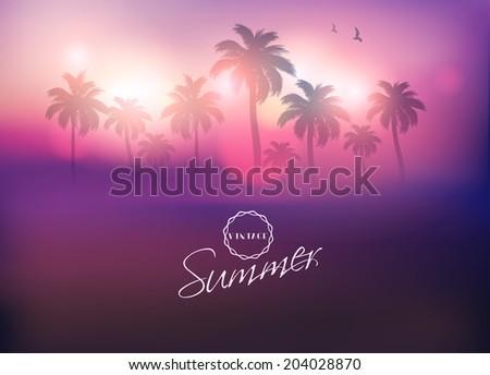 Paradise Island-Purple Palm Tree Sunset  - stock vector