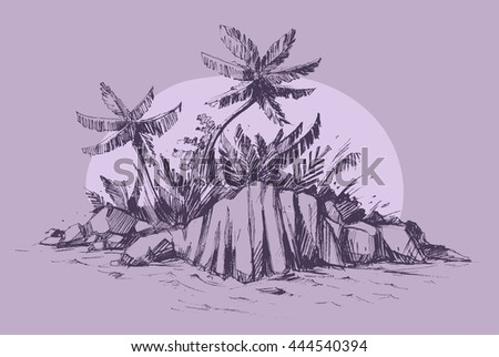 Paradise island with palms and stones. Vector sketch.