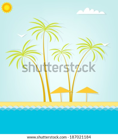Paradise sand beach and palm tree of a tropical island - stock vector