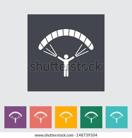 Paraglider. Single flat icon. Vector illustration. - stock vector