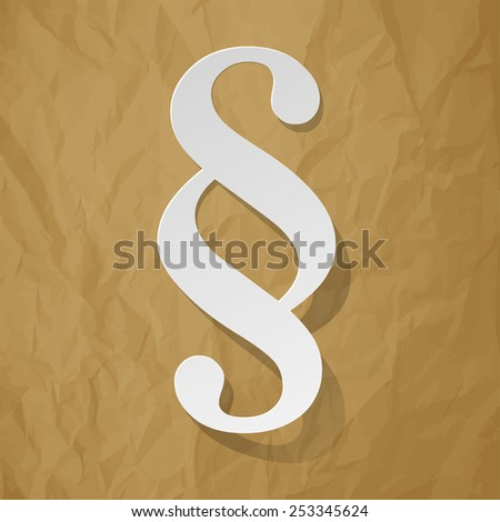 Paragraph white symbol paper on crumpled paper brown background - stock vector