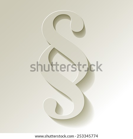 Paragraph white symbol paper on white background - stock vector