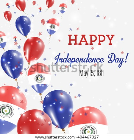 Paraguay Independence Day Greeting Card. Flying Balloons in Paraguayan National Colors. Happy Independence Day Paraguay Vector Illustration.