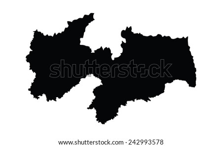 Paraiba, Brazil, vector map isolated on white background. High detailed silhouette illustration.