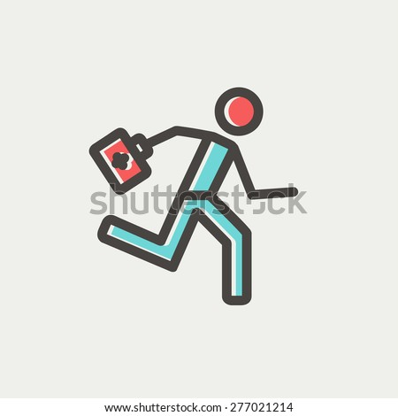 Paramedic running with first aid kit icon thin line for web and mobile, modern minimalistic flat design. Vector icon with dark grey outline and offset colour on light grey background. - stock vector