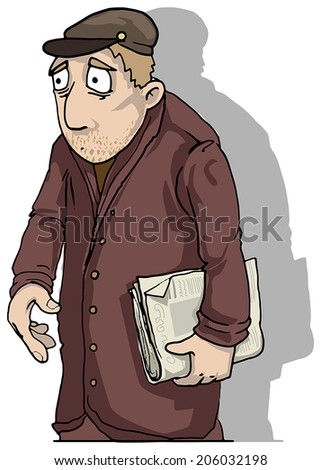 Paranoid stressed man, vector illustration - stock vector
