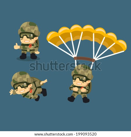 Paratrooper character parachuting phases. A skydiving soldier with a parachute falling. - stock vector