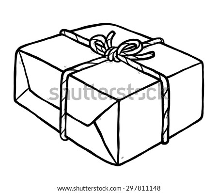 parcel and rope / cartoon vector and illustration, black and white, hand drawn, sketch style, isolated on white background. - stock vector