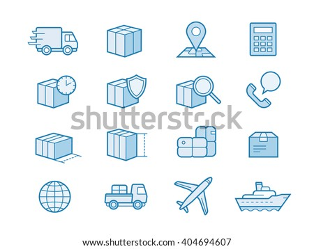Parcel delivery service icon set. Fast delivery and quality service transportation. Shipping vector icons for logistic company.