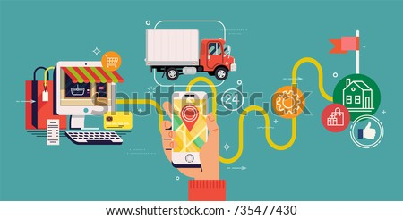 Parcel shipping or order delivery tracking concept illustration. Vector flat design on post sending tracking using mobile device