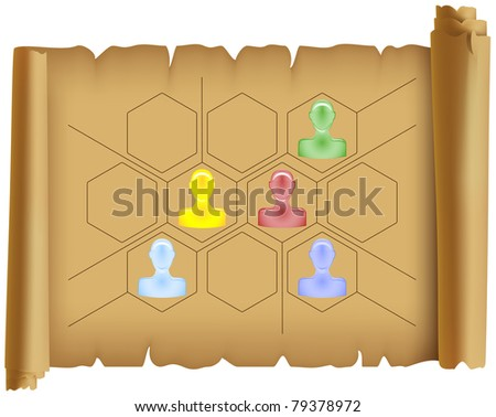 diagrammatically stock vectors  amp  vector clip art   shutterstockparchment placed on it the scheme in the form of hexagons and diagrammatically depicted the silhouettes