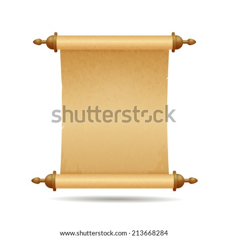 Parchment scroll vector illustration isolated on white - stock vector