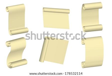 parchment set vector - stock vector