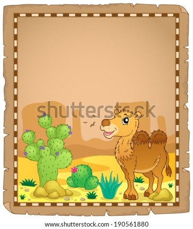 Parchment with camel 2 - eps10 vector illustration. - stock vector