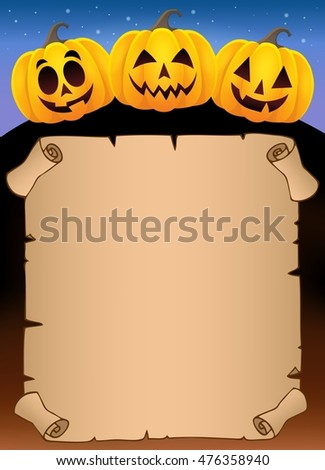 Parchment with Halloween pumpkins 1 - eps10 vector illustration.