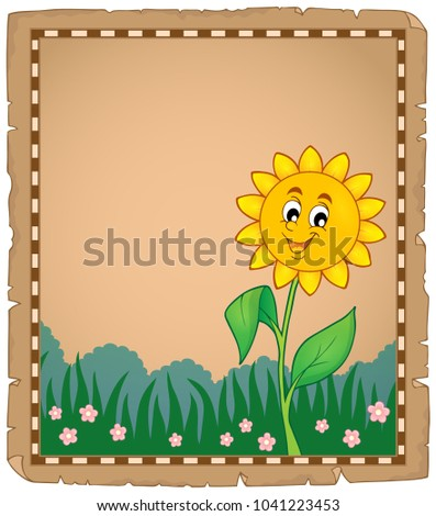 Parchment with happy flower 1 - eps10 vector illustration.