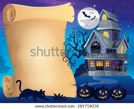 Parchment with haunted house thematics 2 - eps10 vector illustration. - stock vector