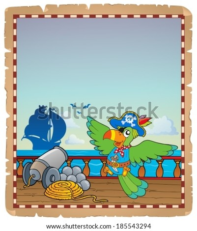 Parchment with pirate ship deck 6 - eps10 vector illustration. - stock vector