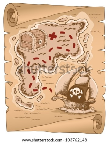 Parchment with treasure map 1 - vector illustration. - stock vector
