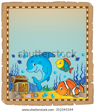 Parchment with underwater theme 8 - eps10 vector illustration. - stock vector