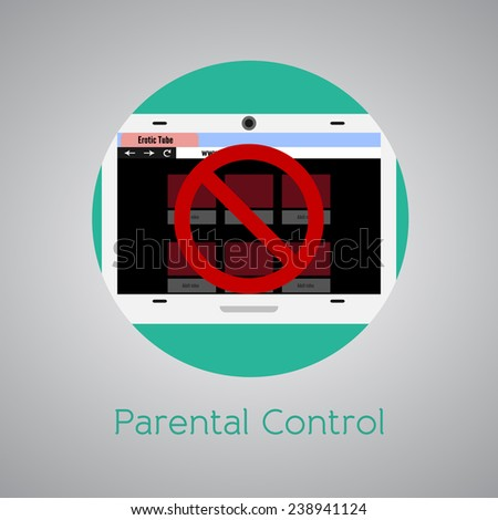 Parental control against adult sites for kids. Round icon. - stock vector