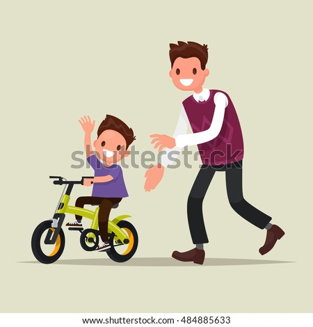 Parenting. The father teaches his son to ride a bicycle. The first bike ride. Vector illustration of a flat design