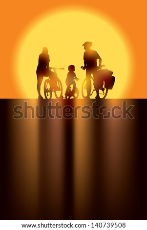 Parents and child cycling on a summer trip. - stock vector
