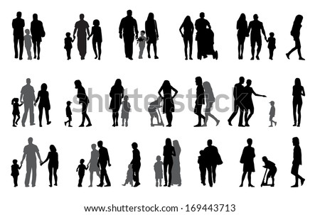 Parents and children Silhouette Vector Illustration