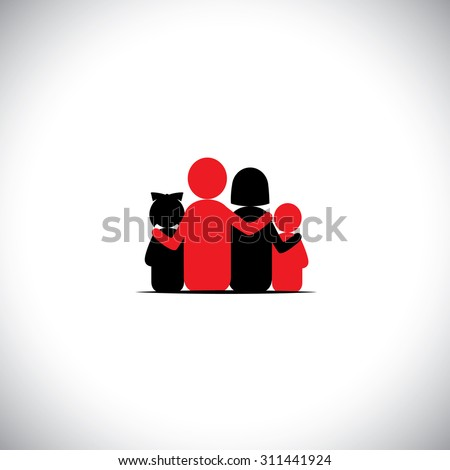 parents and children together relationship bonding - vector icon. this represents sharing, love, human touch, friendly embrace, empathy, compassion, presence, listening, understanding, togetherness - stock vector