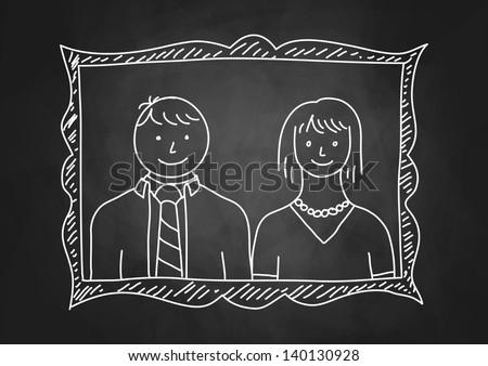 Parents portrait on blackboard - stock vector
