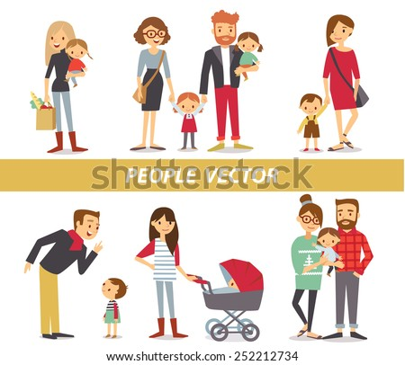 parents with kids - stock vector