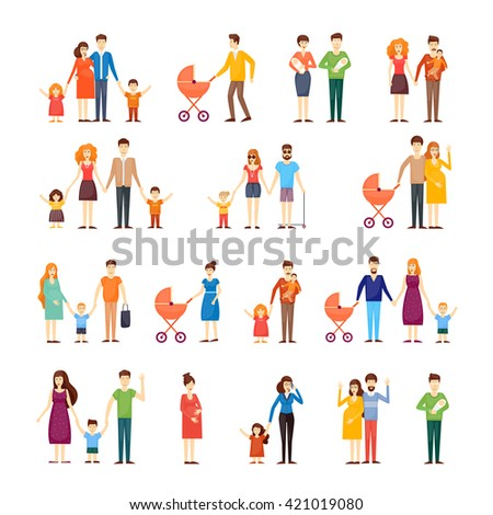Parents with kids, cartoon family, on an isolated background. Flat design vector illustration. - stock vector