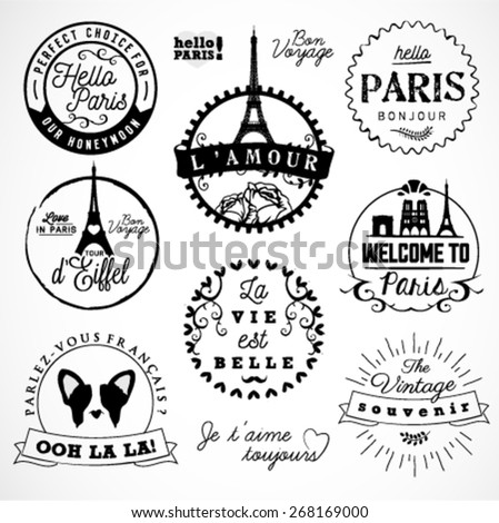 Paris Badges and Labels in Vintage Style - stock vector