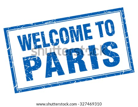 Paris blue square grunge welcome isolated stamp