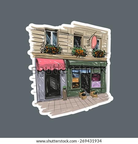 Paris cafe, vector illustration - stock vector