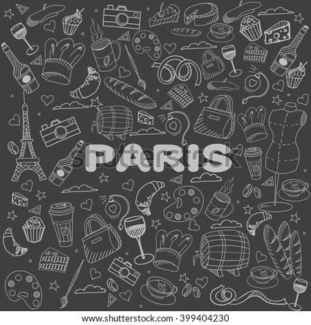 Paris chalk line art design vector illustration. Separate objects. Hand drawn doodle design elements. - stock vector