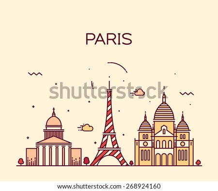 Paris City skyline detailed silhouette. Trendy vector illustration, line art style. - stock vector