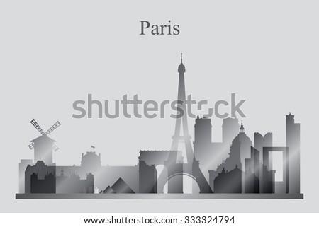 Paris city skyline silhouette in grayscale, vector illustration - stock vector